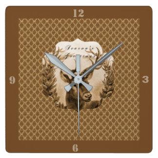 Reloj Cuadrado Saludo de los ciervos del oro