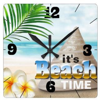 Reloj Cuadrado Seashell hermoso de la playa de Sandy
