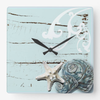 Reloj Cuadrado Seashells azules de las estrellas de mar de la