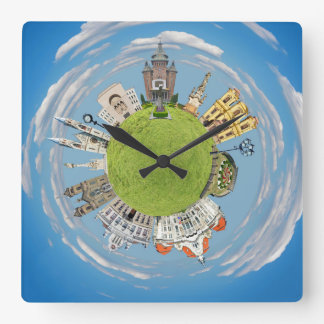 Reloj Cuadrado señal minúscula del planeta de Rumania de la