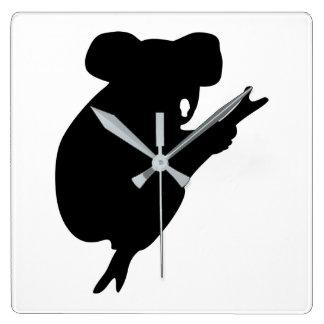Reloj Cuadrado Silueta de la koala