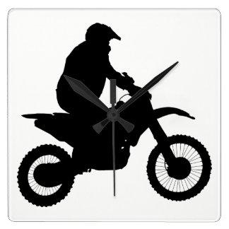 Reloj Cuadrado Silueta del motocrós