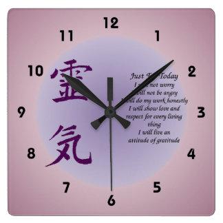 Reloj Cuadrado Símbolo de Reiki apenas para el hoy inspirado