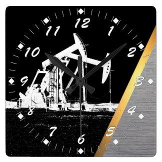 Reloj Cuadrado Sitio del pozo de petróleo