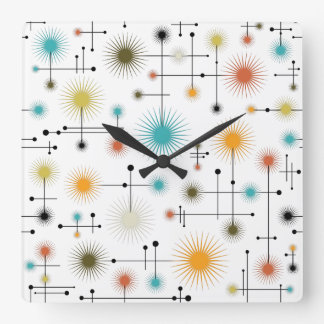 Reloj Cuadrado ¡Starbursts retro un Ir-Ir!