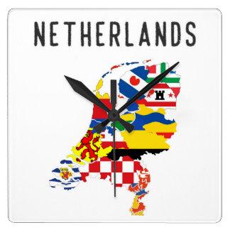 Reloj Cuadrado Symb holandés del mapa de la bandera de la