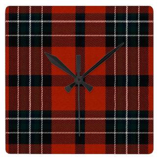 Reloj Cuadrado Tela escocesa de Ailsh del lago