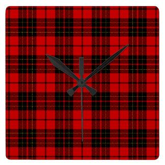 Reloj Cuadrado Tela escocesa negra roja del tartán del clan de