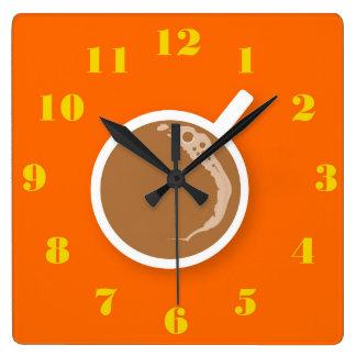 Reloj Cuadrado Tiempo de Coffe