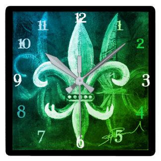 Reloj Cuadrado Tiempo de la flor de lis