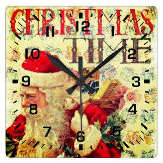 Reloj Cuadrado Tiempo Papá Noel del navidad del vintage