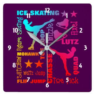 Reloj Cuadrado Tipografía colorida de la terminología del tema