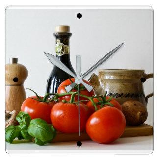 Reloj Cuadrado Todavía del tomate vida