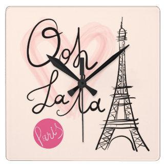Reloj Cuadrado Torre Eiffel dibujada mano