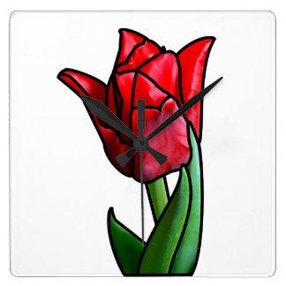 Reloj Cuadrado Tulipán rojo exótico del vitral