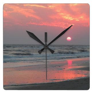 Reloj Cuadrado Una puesta del sol perfecta