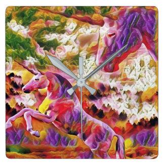 Reloj Cuadrado unicornios abstractos