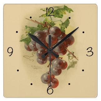 Reloj Cuadrado Uvas del vintage