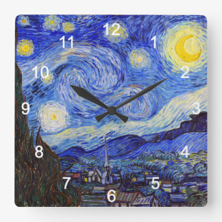 "Reloj Cuadrado VanGoghの""Starry Night""の壁掛け時計,No.01"