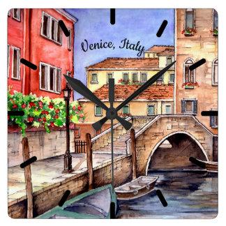 Reloj Cuadrado Venecia - pintura de la acuarela de la pluma y del