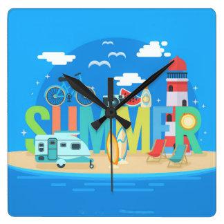 Reloj Cuadrado Verano