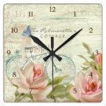 Reloj Cuadrado Verano en las abejas de la mariposa de la