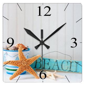 Reloj Cuadrado Verano tropical de la playa de las estrellas de