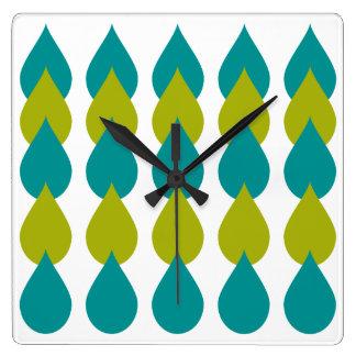 Reloj Cuadrado Verde azul retro