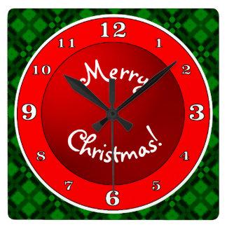 Reloj Cuadrado Verde rojo de las Felices Navidad n