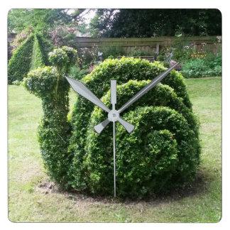 Reloj cuadrado verde único del caracol de jardín
