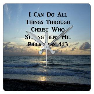 RELOJ CUADRADO VERSO IMPONENTE DE LA ESCRITURA DEL 4:13 DE LOS