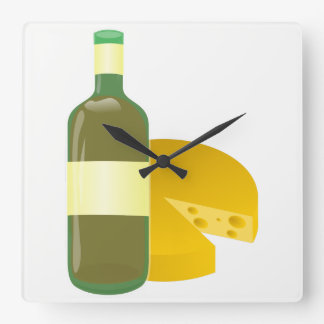 Reloj Cuadrado Vino y queso