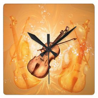 Reloj Cuadrado Violín maravilloso con el arco de violín con las