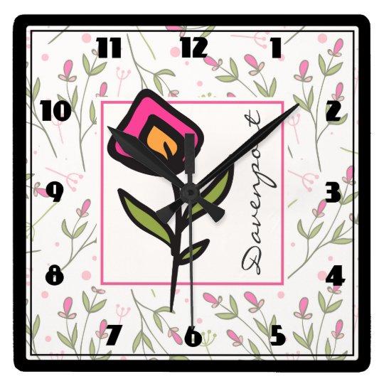 Reloj Cuadrado Wildflowers largos del tronco del rosa y del verde