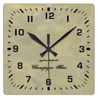 Reloj Cuadrado Yeso metálico de la plata y del oro