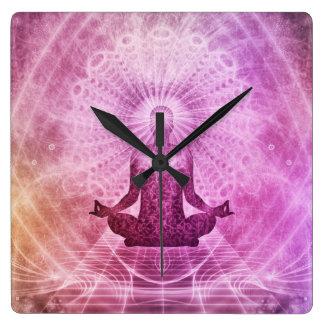 Reloj Cuadrado Zen espiritual de la meditación de la yoga