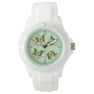 Reloj Cuatro mariposas verdes