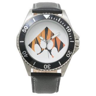 Reloj Cuero del negro del acero inoxidable de Tigerpaw