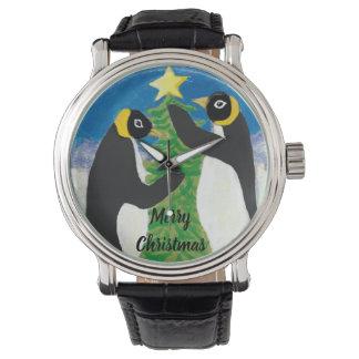 Reloj Cuero negro de encargo del vintage del navidad del