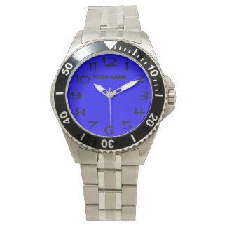 Reloj Customizeable azul y su nombre
