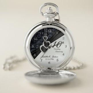 Reloj De Bolsillo 10mo Diseño del aniversario de boda del ónix