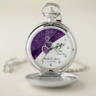 Reloj De Bolsillo 33ro Diseño Amethyst del aniversario de boda