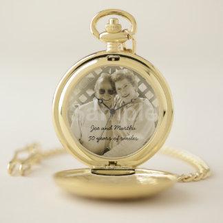 Reloj De Bolsillo 50.o Foto y nombres del aniversario de boda de oro