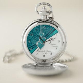Reloj De Bolsillo 5to Aniversario de boda de la turquesa