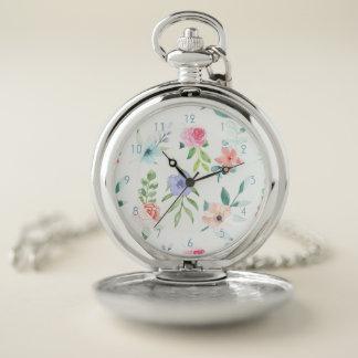 Reloj De Bolsillo Acuarela en colores pastel floral