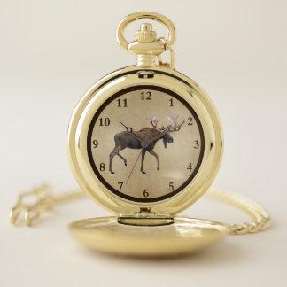 Reloj De Bolsillo Alces de Bull en el pergamino