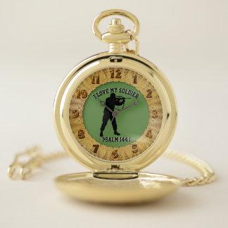 Reloj De Bolsillo Amo a mi francotirador del 144:1 del salmo del
