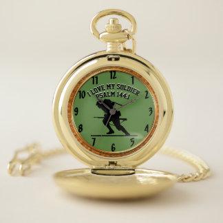 Reloj De Bolsillo Amo a mi guerrero 5 del 144:1 del salmo del
