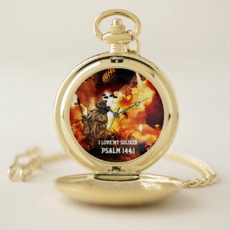 Reloj De Bolsillo Amo mi explosión del naranja del 144:1 del salmo