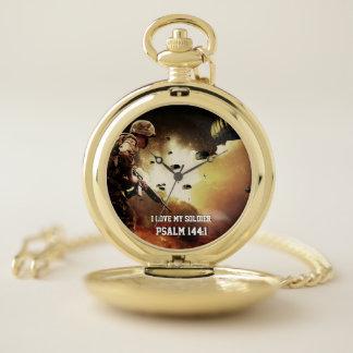 Reloj De Bolsillo Amo mi paratroope 1 del 144:1 del salmo del